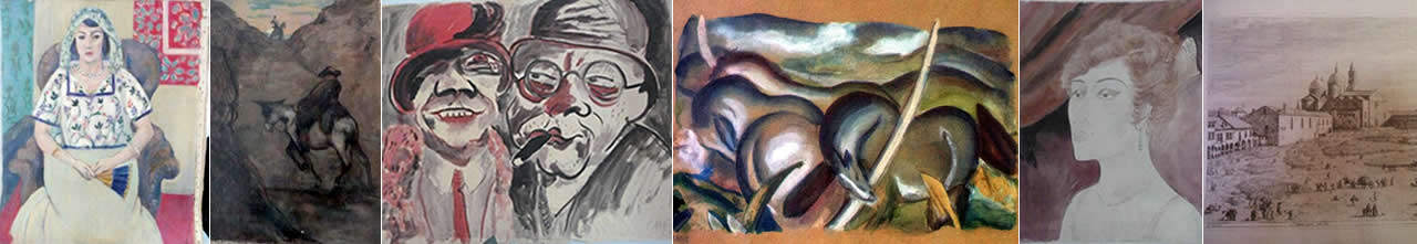 Paintings found in the apartment of Cornelius Gurlitt: Woman Sitting In A Chair by Henri Matisse; Don Quichote and Sancho Panza by Honoré Daumier; Couple, by Hans Christoph; Franz Marc's Pferde in Landschaft; The Woman in the Theater Box by Otto Dix; close up of a Black and white drawing by Antonio Canaletto