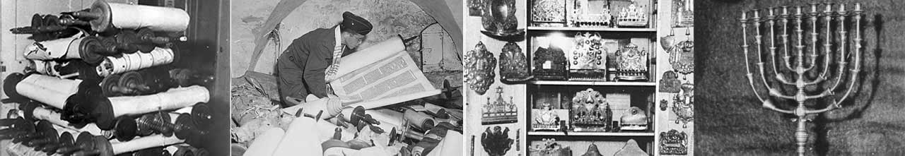 Offenbach, Germany, Some of the six hundred Torah scrolls that were brought to the OAD from all over the American-administered area, 1946.; In a cellar in Frankfurt, Germany, Chaplain Samuel Blinder examines Saphor Torahs stolen from across Europe. Photo: National Archives; Left, Torah breast plates and right chanukiah confiscated by Nazis. USHMM courtesy of S. J. Pomrenze; In a cellar in Frankfurt, Germany, Chaplain Samuel Blinder examines Saphor Torahs stolen from across Europe. Photo: National Archives; Left, Torah breast plates and right chanukiah confiscated by Nazis. USHMM courtesy of S. J. Pomrenze
