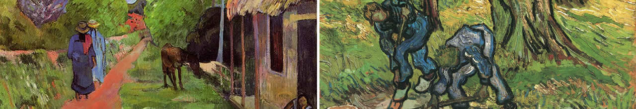 Paul Gaugin, Street in Tahiti and Van Gogh, the Diggers